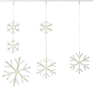 Home Accents Holiday 64 in. 150-Light Warm White Micro Dot LED Snowflake Icicle Light