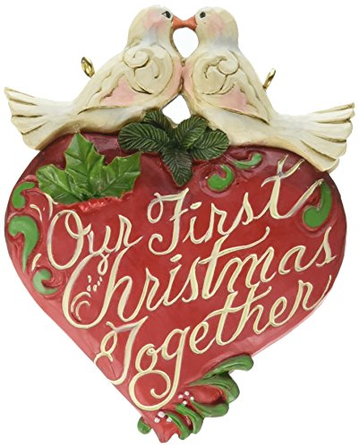 Jim Shore Heartwood Creek Our First Christmas Together Heart Stone Resin Hanging Ornament, 3.75