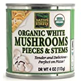Pack of 2 - Native Forest Organic White Mushrooms, Pieces & Stems, 4 Oz