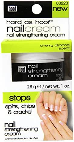 Hard As Hoof Nail Strengthening Cream with Cherry Almond Scent Nail Strengthener & Nail Growth Cream Prevents Splits, Chips, Cracks & Strengthens Nails, 1 oz