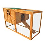 Pawhut 64'' Chicken Coop Hen House w/ Nesting Box and Outdoor Run