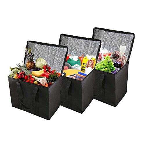 Houseables Insulated Grocery Bag, Food Delivery Bags, 3 Pack, Black, Large, 15.5 x 9 x 13 Inch, Reuseable, Thermal Tote, Transport Cooler, For Hot Cold Groceries, Frozen Foods, Shopping, With Zipper