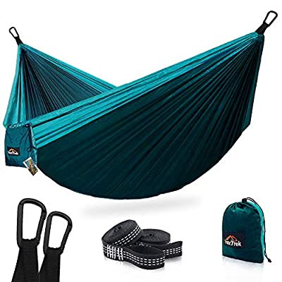 AnorTrek Camping Hammock, Super Lightweight Portable Parachute Hammock with Two Tree Straps (Each Two Loops), Single & Double Nylon Hammock for Camping Backpacking Travel Hiking