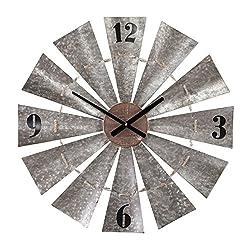 Southern Enterprises Rustic Windmill Wall Clock - Large Oversized Clock - Galvanized Aluminum Metal