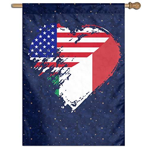 MKLNHBGFCH37 Italian American Heart Flag Welcome Garden Flag Yard Flag Family Flag 27