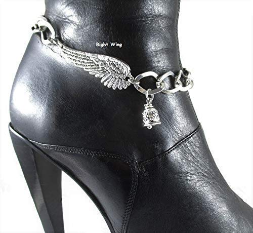 - Road Angel Riding Bell Charm with Angel Wings Boot Chains Boot Bracelet Bling Chain Motorcycle Accessory Personalized Word Tag and/or Riding Bell Jewelry