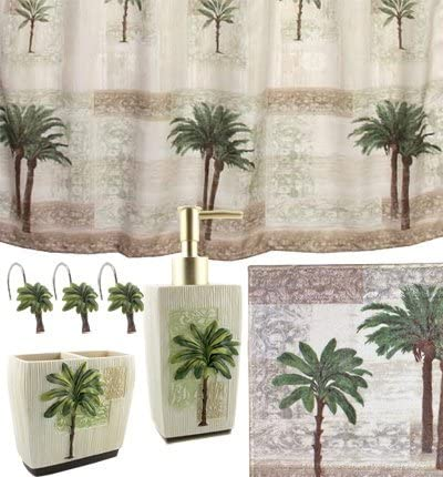 Amazon Com Palm Tree 5 Piece Bath Set Tropical Decor Shower Curtain Rug And More Home Kitchen