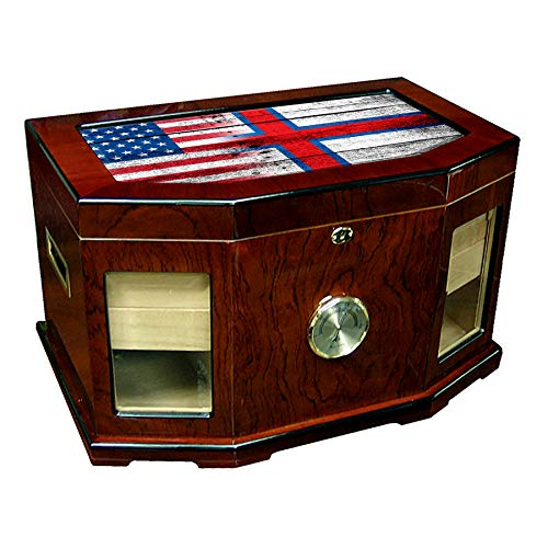 (Large Premium Desktop Humidor - Glass Top - Flag of Faroe Islands (Faeroese) - Wood with USA Flag - 300 Cigar Capacity - Cedar Lined with Two humidifiers & Large Front Mounted Hygrometer.)