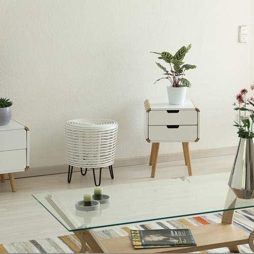 Relaxdays 10021509_49 rotin, Pouf Rond, Tabouret Design, Repose, Fauteuil tressé 4 Pieds, Blanc, Bianco, 44x40x40
