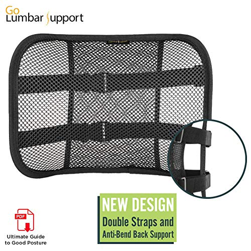 (Go Lumbar Support Mesh Back Cushion for Car Seat Desk Office Chair [UPGRADE VERSION WITH STRAP], Recommended by Chiropractor Dr. Jose Guevara for Orthopedic Driving Comfort and Posture Support, Black)