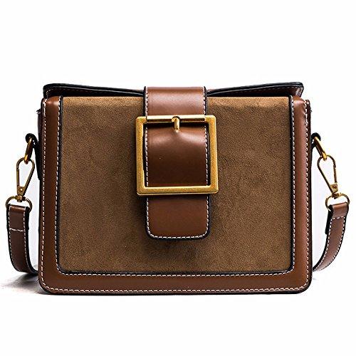 2018 nueva retro hombro Messenger Bag, simple Wild plaza pequeña bolsa 21 * 16 * 9cm,Brown Brown