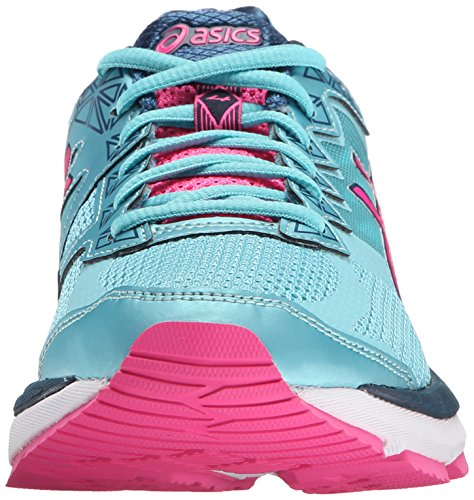 Asics Women's GT-2000 4 Running Shoe, Silver, 6 B US Turquoise/Hot Pink/Navy