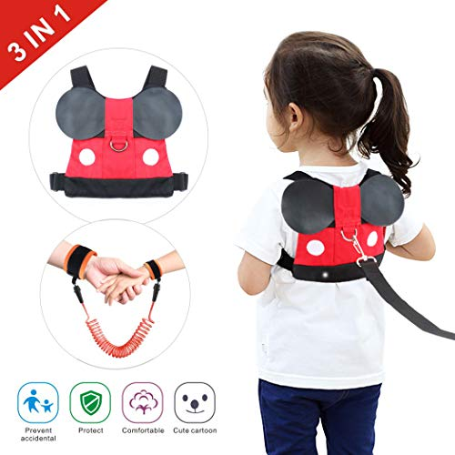 Idefair Kids Leash and Wrist Link Set, Toddler Anti Lost Safety Harness Cute Child Walking Leash for Boys, Girls to Disneyland, Mall or Zoo (Orange)