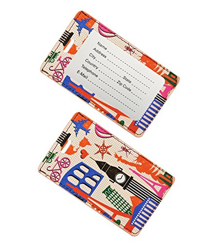 Go Green Power TR1274 Design Leather Luggage Tag - World Attractions - 2pk