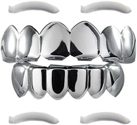 24K Plated Gold Grillz for Mouth Top Bottom Hip Hop Teeth Grills for Teeth Mouth + 2 Extra Molding Bars, Storage Case + Microfiber Cloth (White Gold)