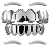 Top Class Jewels 24K White Gold Plated Grillz+ 2 Extra Molding Bars, Storage Case + Microfiber Cloth