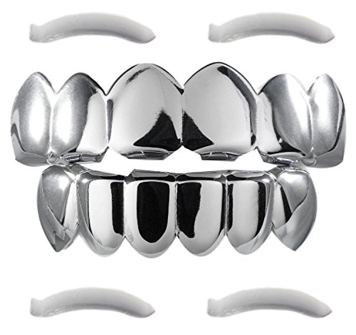 [24K White Gold Plated Grillz + 2 EXTRA Molding Bars] (Halloween Costumes For 4 People)