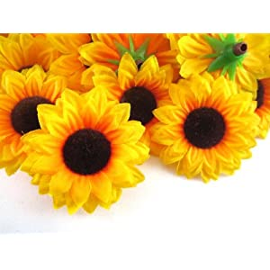 "(24) Silk Yellow Sunflowers sun Flower Heads , Gerber Daisies - 1.5"" - Artificial Flowers Heads Fabric Floral Supplies Wholesale Lot for Wedding Flowers Accessories Make Bridal Hair Clips Headbands Dress 11"