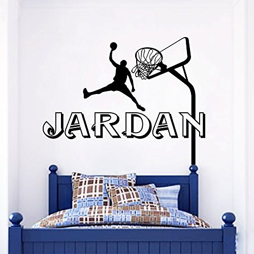 Wall Decals Personalized Name Basketball Game Ring For Ball Sports Vinyl Sticker Nursery Room Bedroom Decal Baby Boy Girl Home Decor Art Murals - Message Ring Basketball