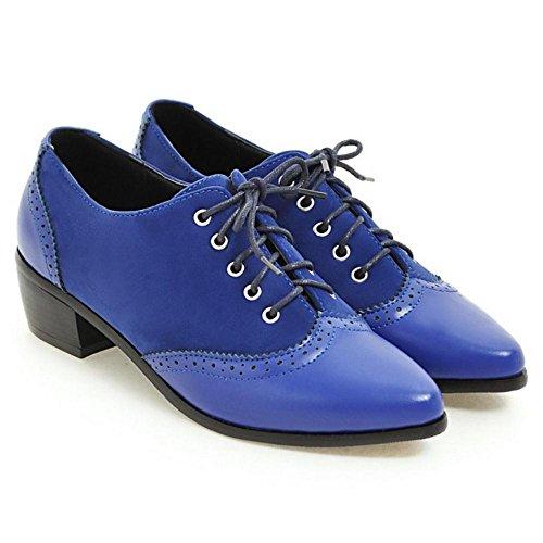 TAOFFEN Women's Lace up Shoes Blue SygtmZ