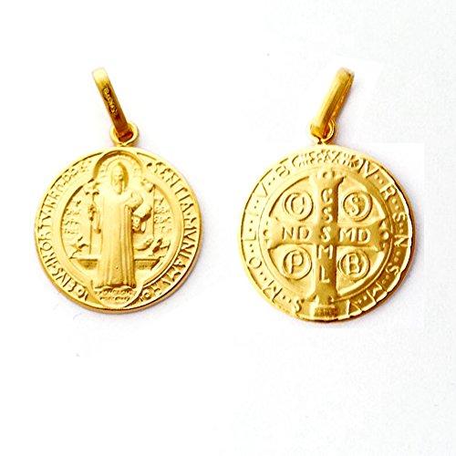 Diamantly - Médaille Ronde St Benoit - or 375/1000 (9 Carats) - Unisex - Enfant -Bebe-Adulte