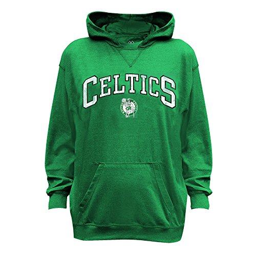 NBA Boston Celtics Long Sleeve Distress Pull Over Hood, Small, Kelly/Heather