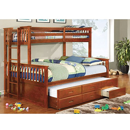 Transitional Twin Over Queen Bunk Bed with Side Barred Wood Paneling and Side Access Ladder