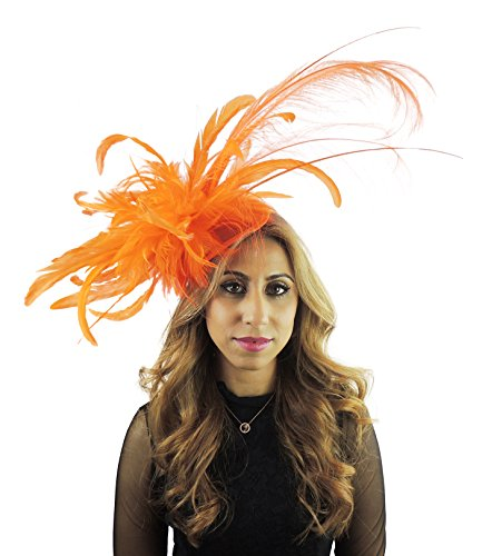 Hats By Cressida Ladies Feather Wedding Races Ascot Derby Large Fascinator Headband Orange by Hats By Cressida