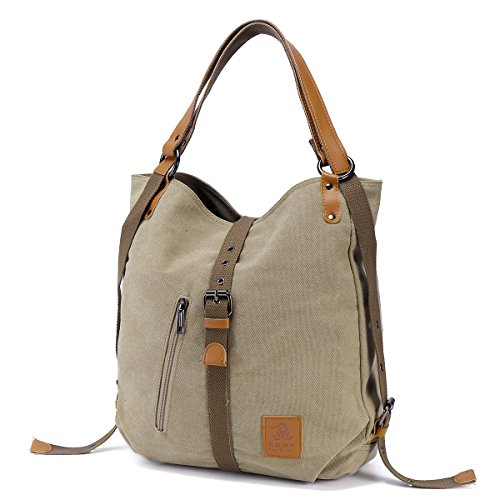 JOSEKO Fashion Shoulder Bag Rucksack, Canvas Multifunctional Casual Handbag Travel Backpack For Women Girls Ladies, Large Capacity Khaki 14.17 Inch(L) x 3.94 Inch(W) x 14.96 Inch(H)