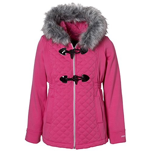 Limited Too Big Girls Quilted Fleece Coat, Toggle Button & Fur Trim Hood Fur Toggle Coat