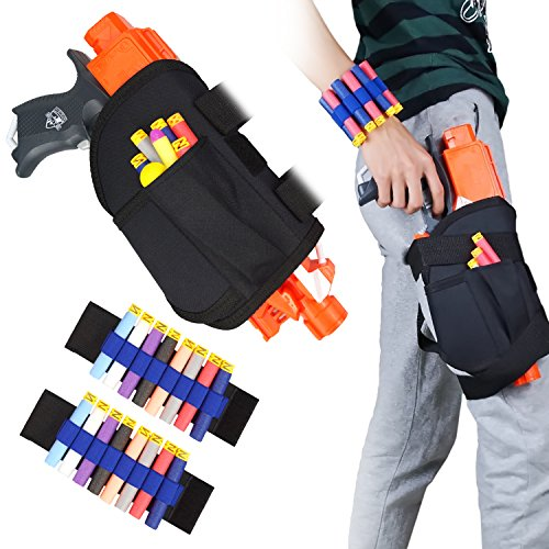 UWANTME Kids Tactical Waist Bag and Dart Wrister Kit for Nerf Guns N-Strike Elite Series Blaster ()