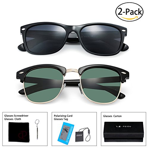 FEIDU Retro Polarized Clubmaster Sunglasses for Men Half Metal Women - Polarized Clubmasters