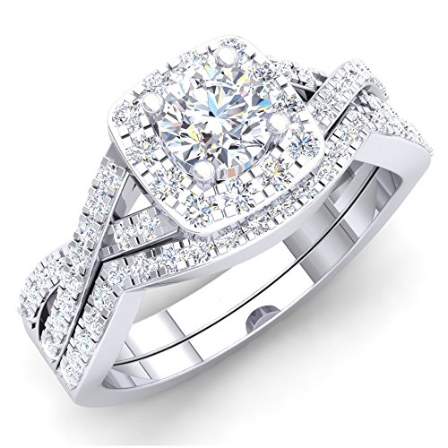 Dazzlingrock Collection 1.80 Carat (ctw) 10K Round Cubic Zirconia CZ Bridal Halo Engagement Ring Set, White Gold, Size 7