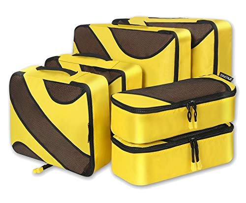 6 Set Packing Cubes,3 Various Sizes Travel Luggage Packing Organizers (Yellow)
