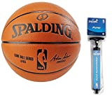 Spalding NBA Indoor/Outdoor Official Size Replica Game Ball (Official Size 7 (29.5') Bundle)