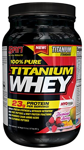 SAN Nutrition 100% Pure Titanium Whey Protein Powder, Tropical Berry, 2 Pounds (Berry Whey)