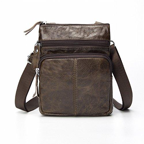 30f0ed2366e35 Herren JackTop Leder Schultertasche Reißverschluss Messenger Bag ...