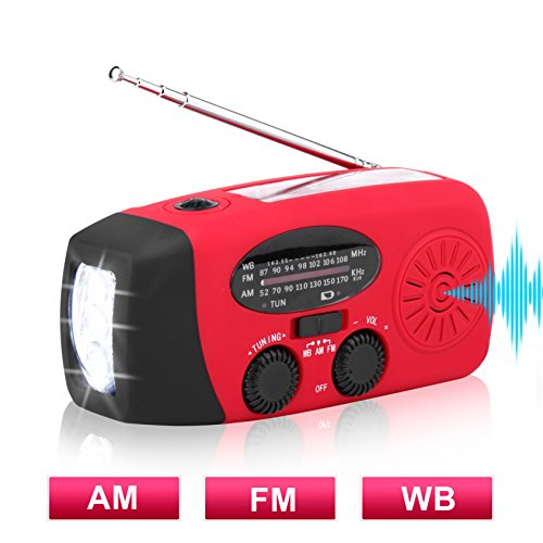 Solar Hand Crank Emergency Weather Radio ,NOAA / AM / FM Portable Radio with 3 LED Flashlight 1000mAh Power Bank Cellphone Charger