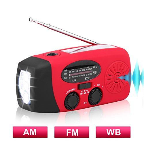 Solar Hand Crank Emergency Weather Radio ,NOAA / AM / FM Portable Radio with 3 LED Flashlight 1000mAh Power Bank Cellphone Charger ()