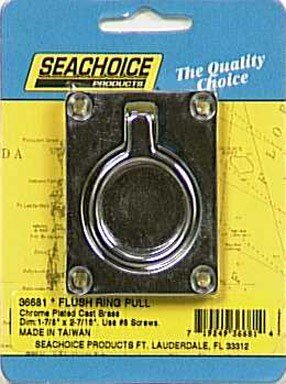 (Seachoice 36681 Chrome-Plated Cast Brass Square Flush Hatch Ring Pull, 1-7/8