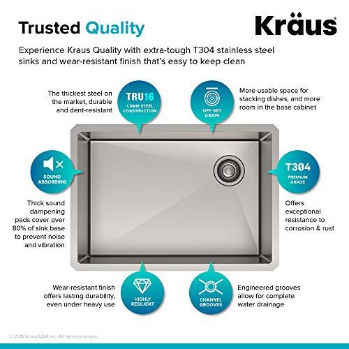 Kraus KHU110-27 Standart PRO Kitchen Stainless Steel Sink, 27 Inch