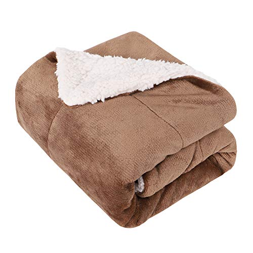 EMME Baby Blanket Fuzzy Sherpa Fleece Blankets Soft Warm Receiving Blankets for Toddler, Infant, Newborn, Boys and Girls Gift Reversible Cozy Blanket for Crib, Stroller, Nap, Outdoor, Decor (Brown)