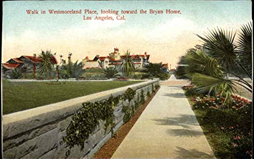 Westmoreland Place - Walk in Westmoreland Place, looking toward the Bryan home Los Angeles, California Original Vintage Postcard