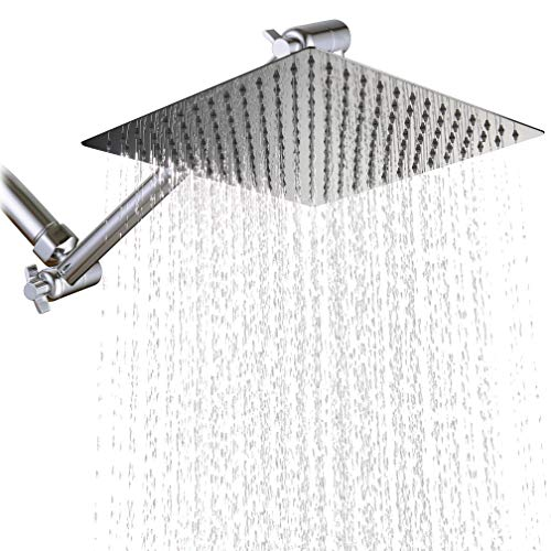 KiaRog 12 Inch (12'') Square Rain Shower Head With Brass 10 inch Adjustable Extension Shower Arm. 12-Inch Side,1/16'' Ultra Thin Showerheads.30 CM 30 CM Stainless Steel Shower, Polish Chrome