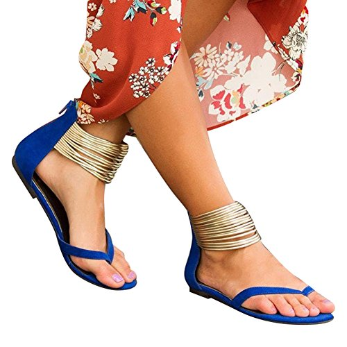 WuXi Mujeres Señoras Sandalias - Moda Zapatos De Verano Casuales Peep Toe Sandalias, Gladiator Thong Cremallera Chancletas, Zapatos De Playa Sandalias De Tiras Azul Negro 35-42 Azul