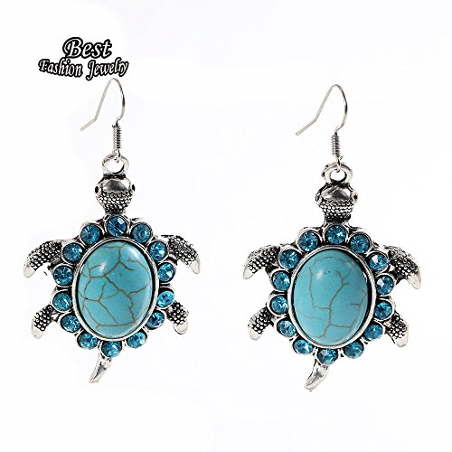 WeMore(TM) Female Tortoise Pendant Drop Earring Silver Plated Green Turquoise Exquisite Costume Accessory Women (Tortoise Costumes)