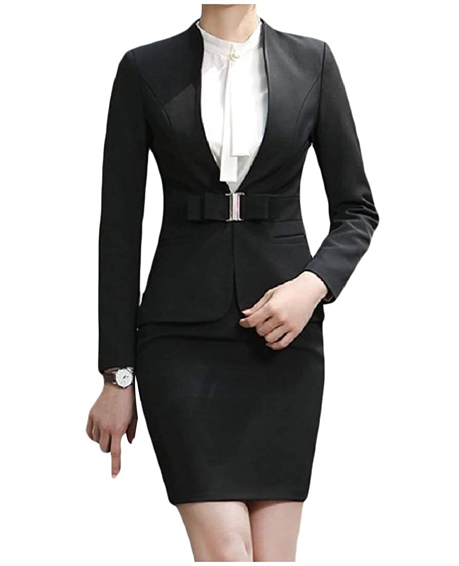 AngelSpace Women Long-Sleeve Smocked Waist Business Stand Collar Skirt Suit