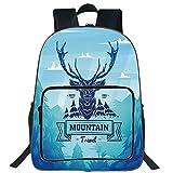 iPrint 19' Large Casual Backpack,Cabin Decor,Vintage Deer Label Hunter Wilderness Retro Hipster Graphic,Sky Blue Dark Blue Turquoise,for boys girls