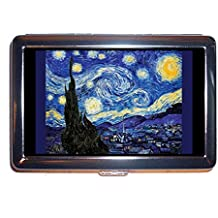 Starry Night by Vincent Van Gogh Post Impressionist Art Stainless Steel ID or Cigarettes Case (King Size or 100mm)