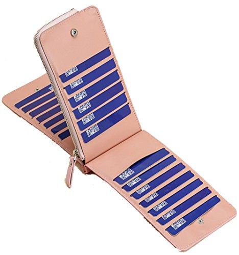 Di Borsa Donna Uomo Portamonete Per Rose Cellulare blu Carte Yajama Porta Portafoglio Credito Pelle REqESY